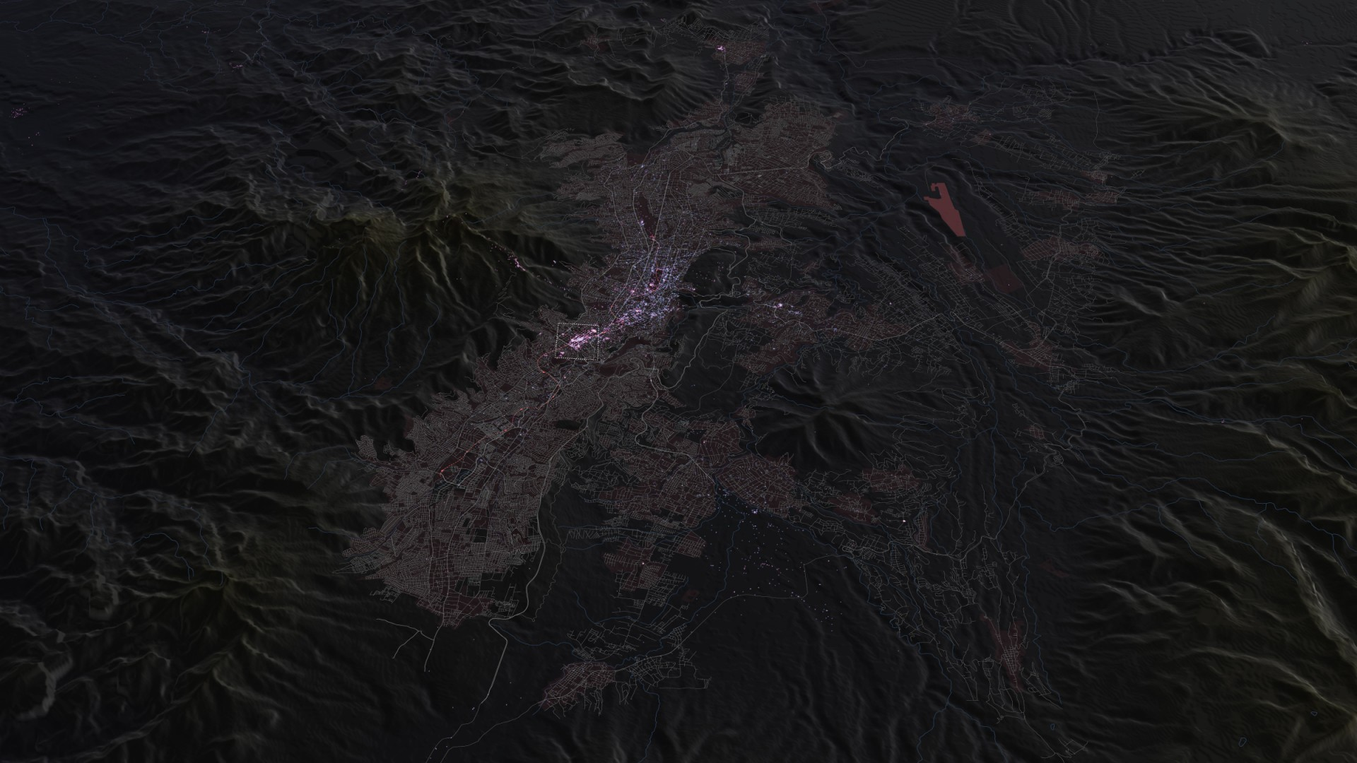 Mapping Imageability: Quito, Ecuador (geotagged photos: pink-flickr, purple-instagram)